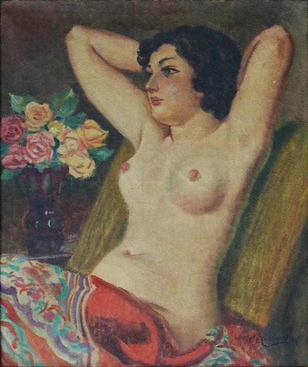 Stanisław Żurawski półakt obraz olejny
