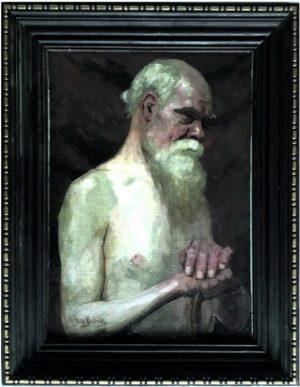 malarz Józef Sendecki, półakt, olej