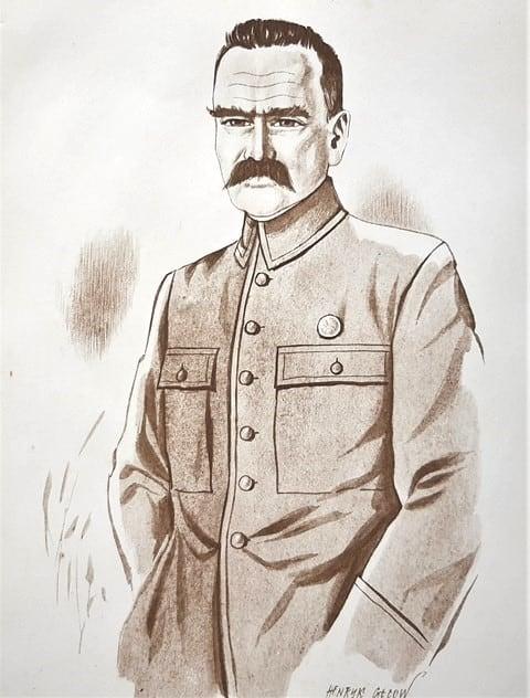 Henryk Gicow Jozef-Pilsudski-litografia-papier