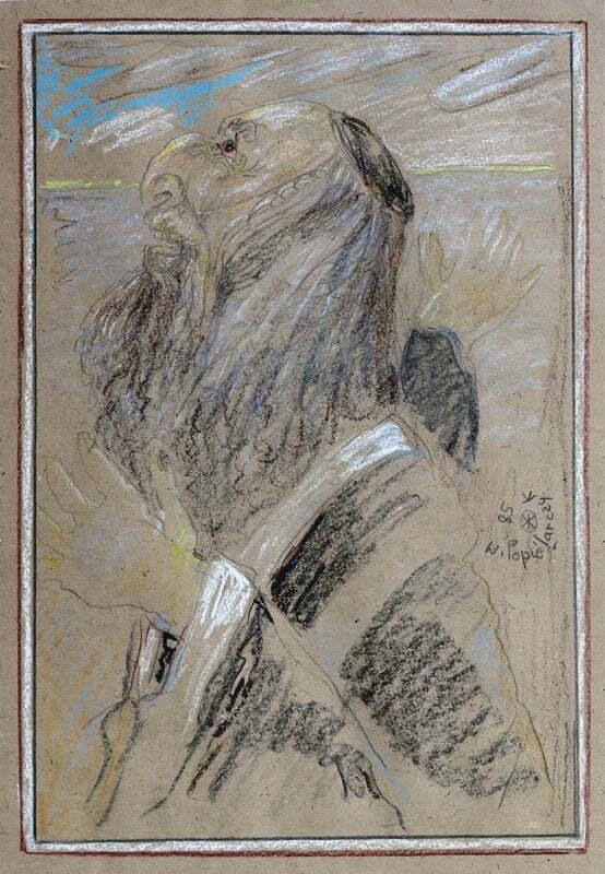 popierarczyk judaika stary Żyd rysunek