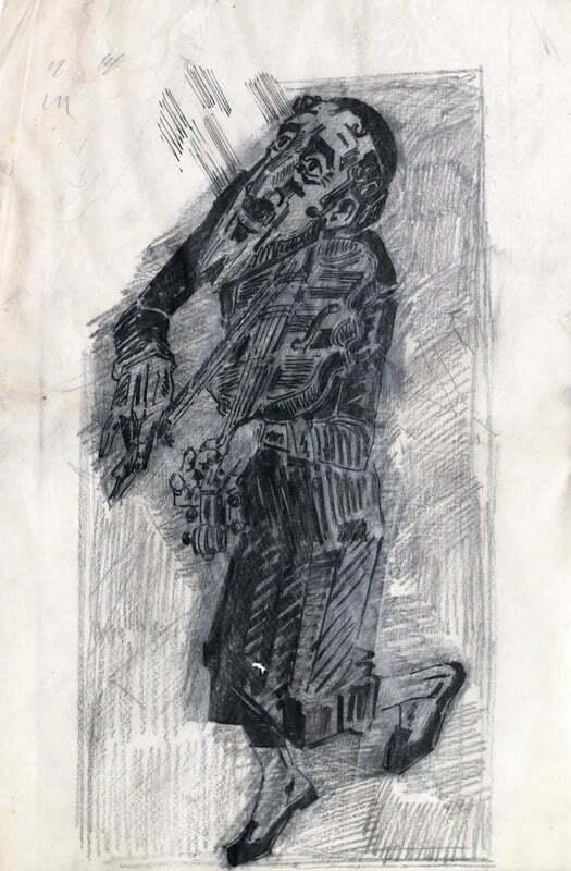 żydowski skrzypek aukcja judaika boguta art kurkowski malarz