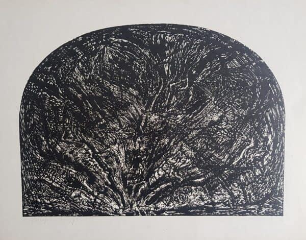 Jerzy Świątkowski, Brzeg, linoryt, papier, 52 x 66 cm., syg. p.d., 23 z 50, 1986 r.
