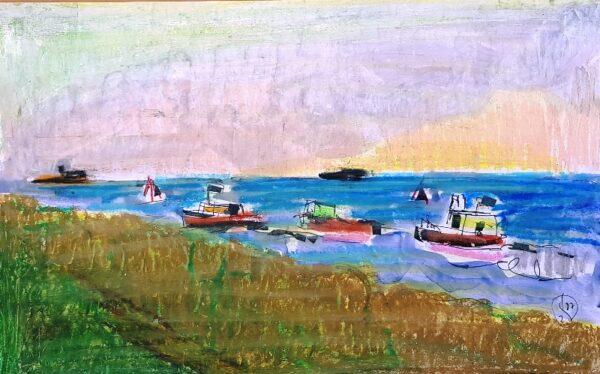 Jerzy Świątkowski, Cumujące kutry, pastel, papier, 25 x 40 cm., syg. p.d.