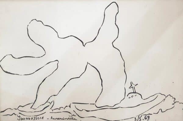 Jerzy Świątkowski, Korzenionóżka, tusz, papier, 36 x 51 cm., syg. p.d., 1969 r.