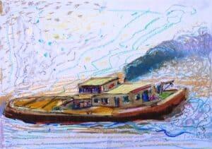 Jerzy Świątkowski - Kuter na morzu, pastel, papier