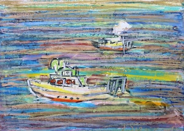 Jerzy Świątkowski, Kutry rybackie, pastel, papier, 30 x 41 cm., syg. p.d.
