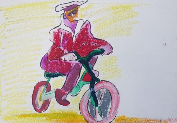 Jerzy Świątkowski, Marynarz na rowerze Świnoujście, pastel, papier, 40 x 58 cm., 1988 r., syg. p.d.