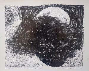 Jerzy ÅšwiÄ…tkowski, Morska wdowa, linoryt, papier, 40 x 50 cm., syg. p.d. 1986 r., 12 z 50