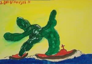 Jerzy ÅšwiÄ…tkowski - Morski potwor, akwarela, papier,1988 r