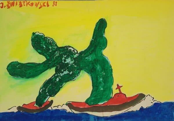 Jerzy Świątkowski - Morski potwor, akwarela, papier,1988 r