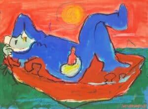 Jerzy Świątkowski - Relaks na plaży, akwarela, papier, 1988 r