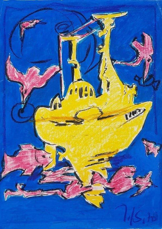Jerzy Świątkowski - Żółta łódź podwodna, tempera, papier,1970 r.