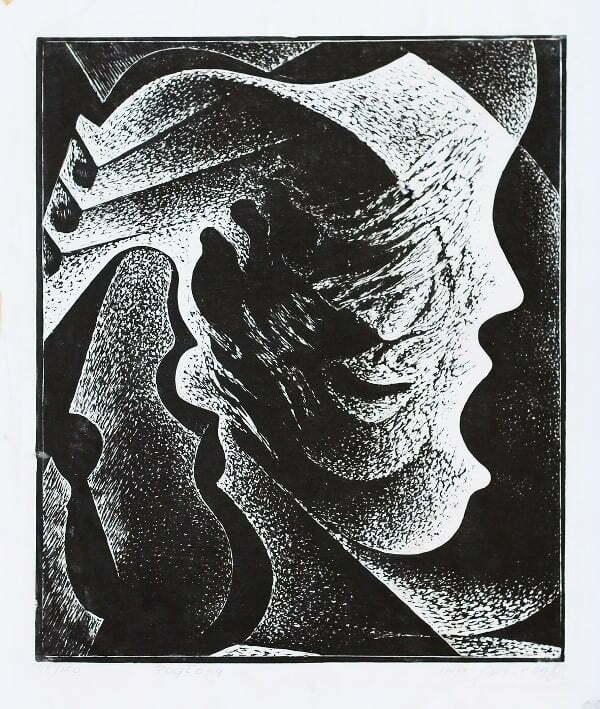 Mirosław Miron Długosz - Pogłosy, linoryt, 1980 r.