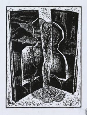 Mirosław Miron Długosz - Dwie strony zjednania, linoryt,1996 r.