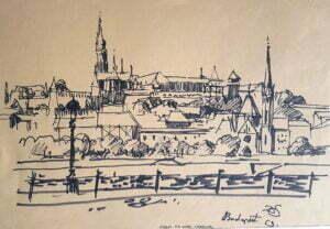 Donald Solo - Widok na górę zamkową Budapeszt, tusz, 1963 r.