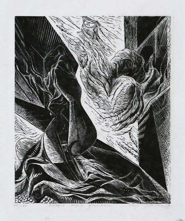 Mirosław Miron Długosz - Odległe myśli fruwania, linoryt,1973 r