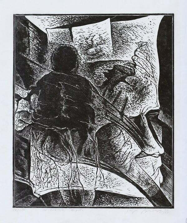 Mirosław Miron Długosz - W cieniu myśli, linoryt, 1990 r.