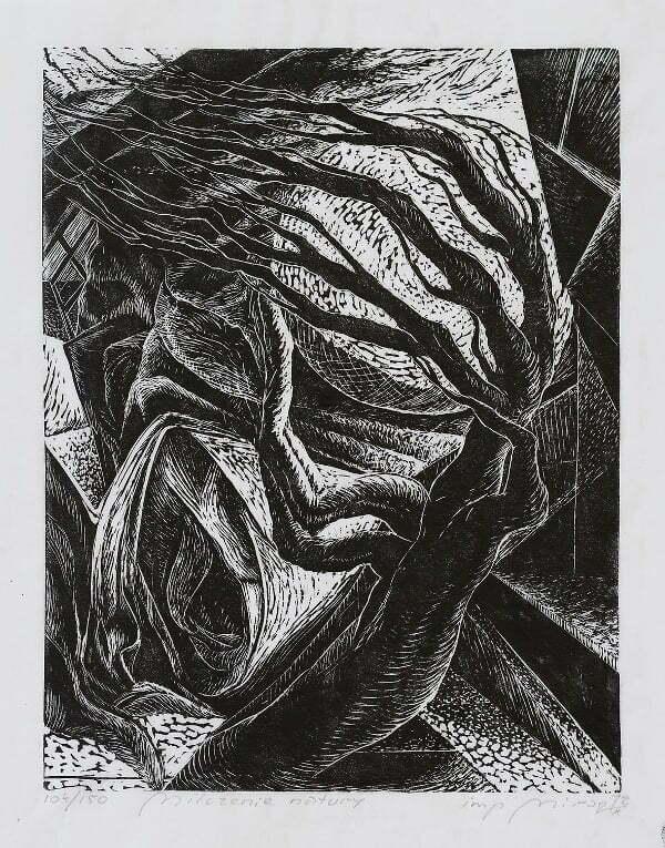 Mirosław Miron Długosz - Milczenie natury, linoryt,1972 r.