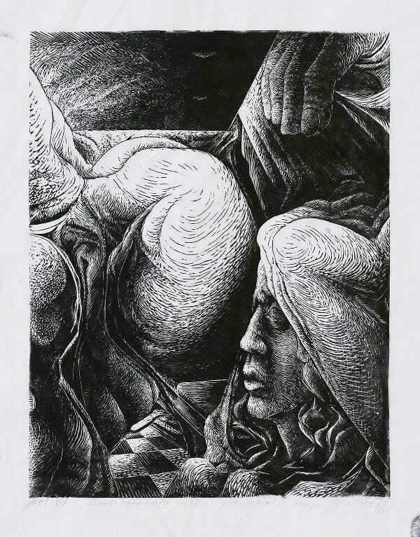 Mirosław Miron Długosz - Zmartwienie moich przyjaciół, linoryt,1972 r.