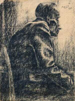 Mirosław Miron Długosz - Postać mężczyzny, węgiel ,papier pakowy, 80 x 60 cm., syg p.g. MED 66