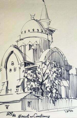 Donald Solo - Meczet w Constancy, tusz, papier,1962 r.