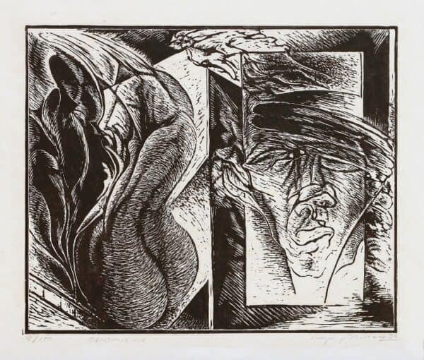 Mirosław Miron Długosz - Obramienie, linoryt, 1990 r.