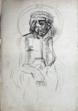 Andrzej Kurkowski - Jezus Frasobliwy, rysunek