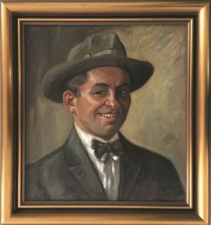 jozef-sendecki-portret-kapelusz-olejny