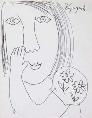 Zbigniew Kupczyński Portret długopis, papier