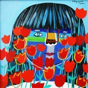 Zbigniew Kupczyński Portret z tulipanami, 2001 r. akryl, plotno