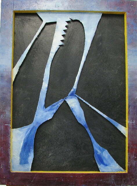 Jerzy Lassota de Kaliński W rozkroku, 1988 r. technika własna, olej, płyta, płótno, karton