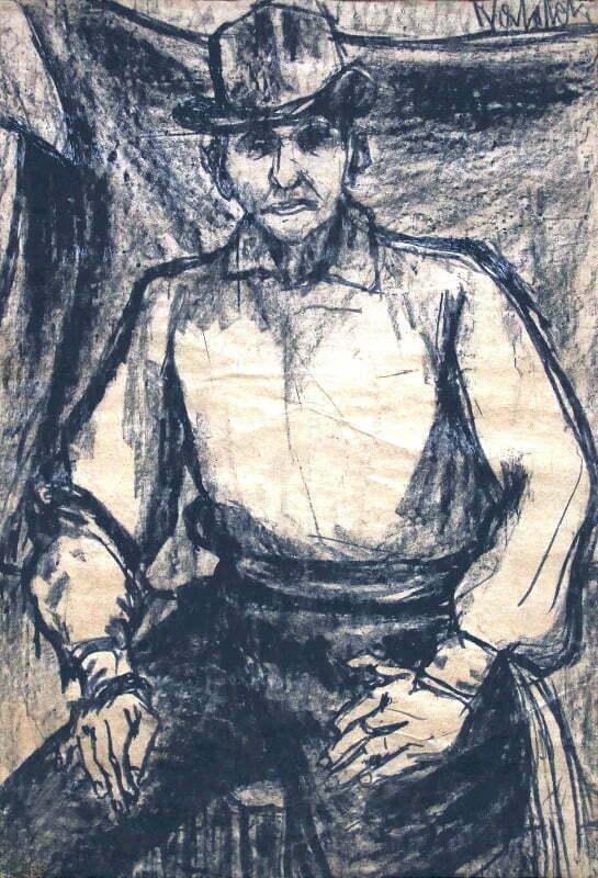 Człowiek w kapeluszu węgiel, papier, 90 x 60 cm., 103 x 74 cm., syg p.g.