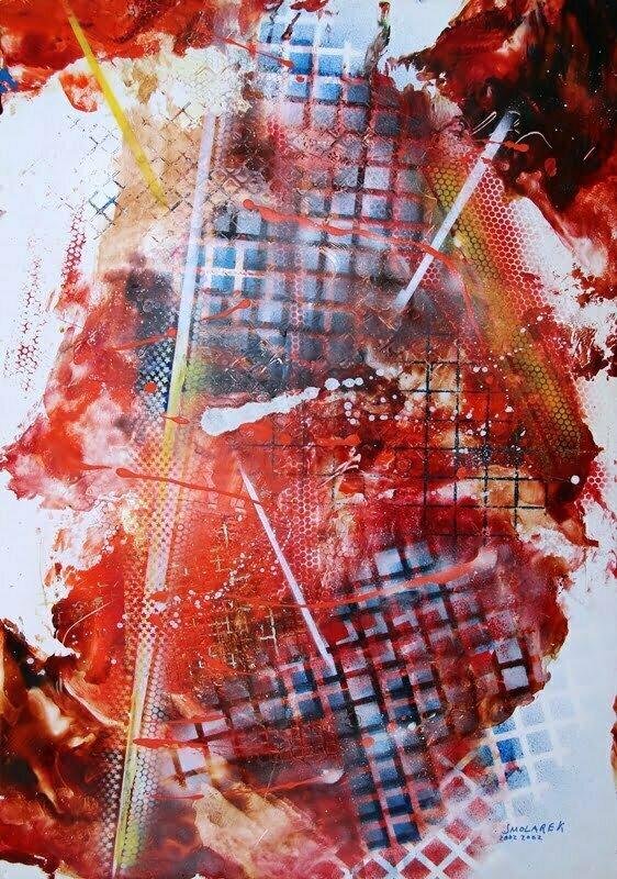 Waldemar Smolarek Abstrakcja czerwona, 2002 r. olej, papier