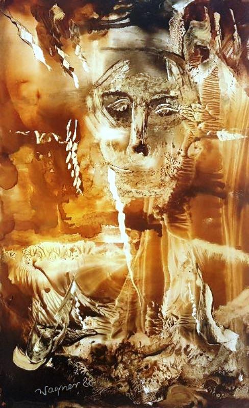 Jan Wagner vel Soćko Portret kompozycja barwna, 1988 r. olej, papier