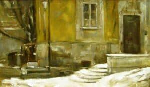 Rajmund Gałecki - Zima na Nowym Mieście II, 2013 r. olej