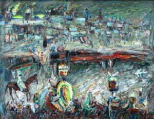Władysław Popielarczyk - Podzamcze, 1986 r. olej, płyta