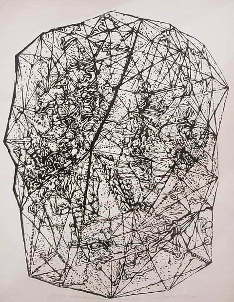 Jerzy ÅšwiÄ…tkowski - Mapa metorbudowy, 1985 r. linoryt